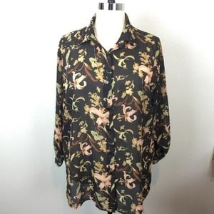 Lane Bryant Floral Plus Size Blouse in Brown Green